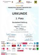 Urkunde vom Sprachenwettbewerb