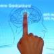 Finger auf Monitor mit Gehirnabbildung
